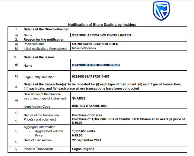 Stanbic IBTC Holdings Plc insider dealing